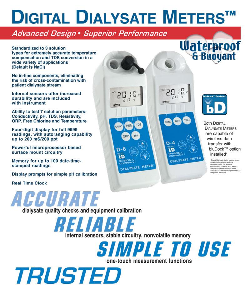 Dialysate Conductivity Meters : Digital dialysate meters water quality testing